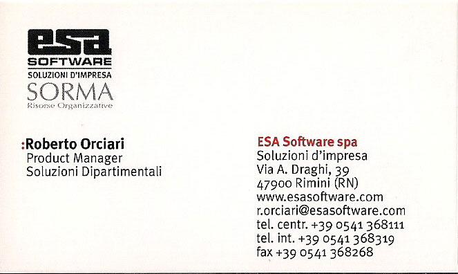 Roberto Orciari - Biglietto da visita - Esa Software SpA